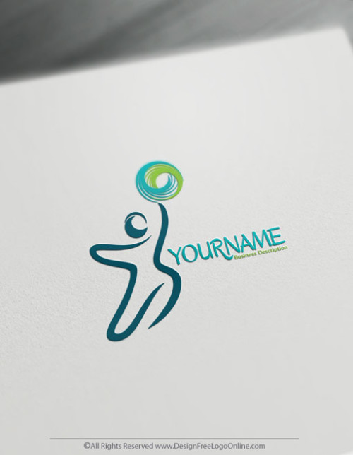 Eco-green Free Hand Drawn Human Reaching Logo Template