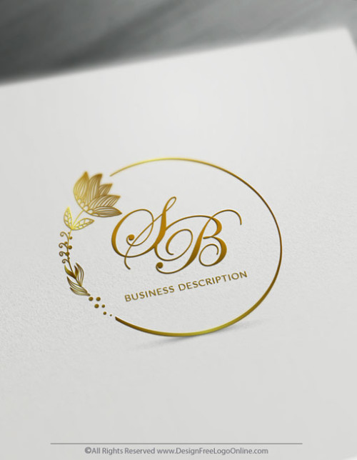 Online gold flowers logo making