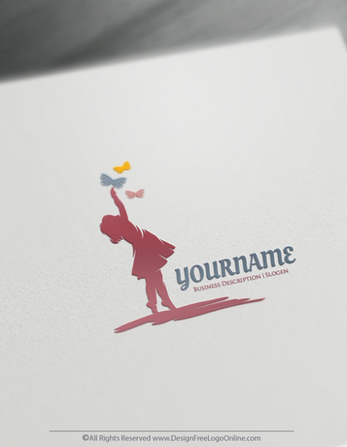 Design Free Logos For Kids - Little Girl Holding Butterfly Logo Template