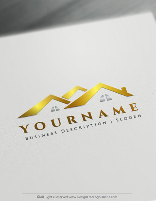 Create your own Gold house Roofing Logo Design Online