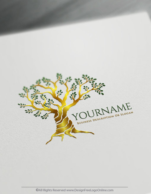 Gold Olive tree logo maker for free