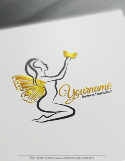 Design a logo online using Lady Gold Butterfly Logo Template and free Beauty logo maker.