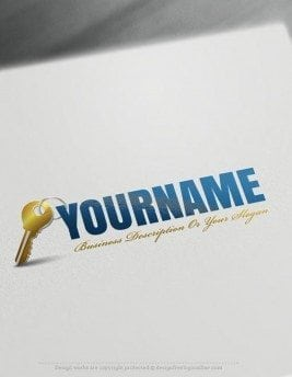 Customize this brand yourself with our free logo maker. Make your own Real Estate House key logo template without graphic designer skills.
