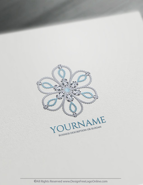 luxuries diamonds jewelry logo maker flower Sapphire logo template