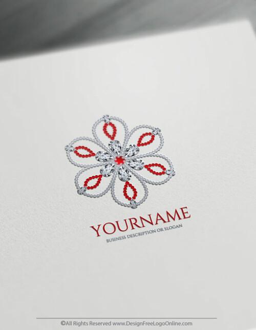 jewelry flower ruby logo maker