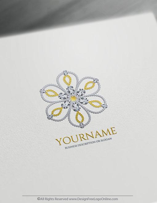 luxuries golden jewelry logo maker flower diamonds logo maker
