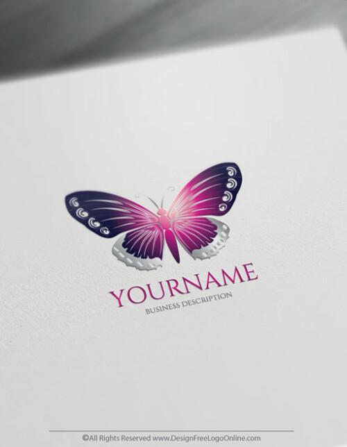 free Purple Butterfly Logo design maker
