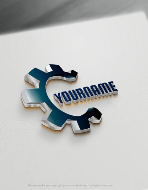 Customize your Industrial template free using the 3D logo creator. Generate as many Gear Industry logo ideas free
