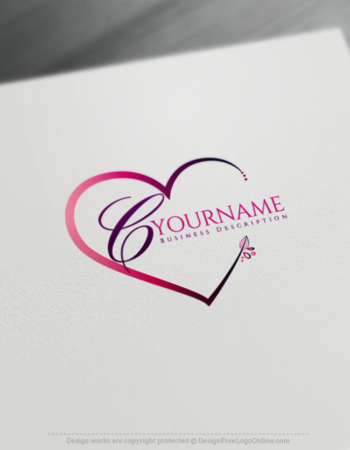 Beautiful Flowers Heart Logo Template - Hand Drawn Heart Icon