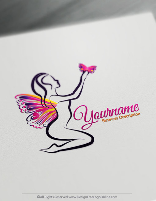 Design a logo online using Lady Butterfly Logo Template and free Beauty logo maker.