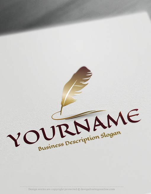 Design Free Logo: Create your own feather ink pen Logo Template