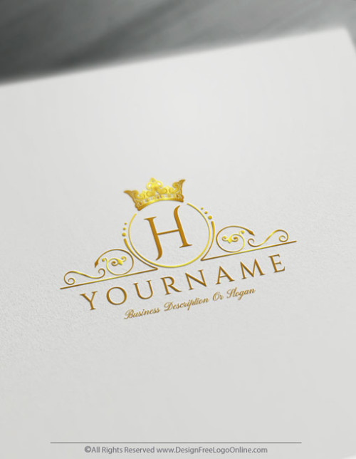 Create a vintage Gold crown logo online with our Free Logo Maker