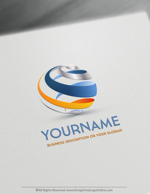 3D Spiral Globe Logo Maker