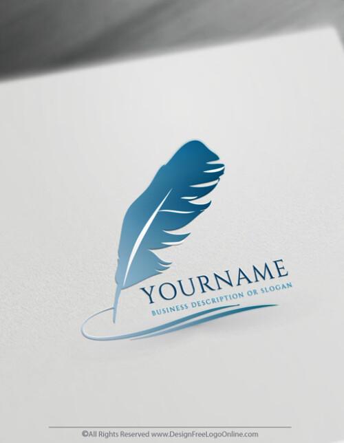 Quill blue writer logo maker
