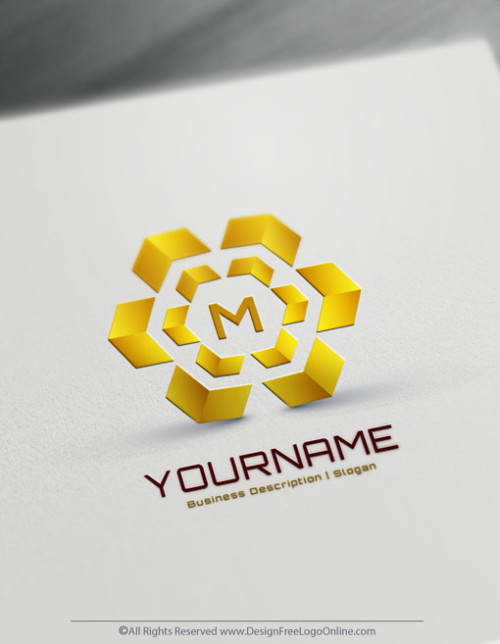Make gold hexagon logo with the best 3D logo maker