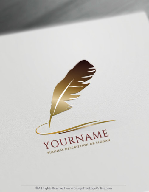 Feather Ink Pen Logo Template