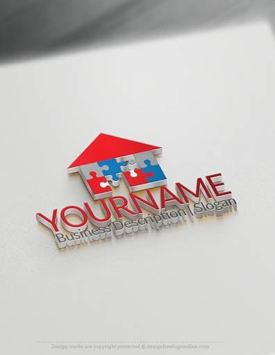 Create a logo with our free logomaker tool design free family easily customize this house puzzle logo templates yourself with our free logo maker make your solutioingenieria Gallery