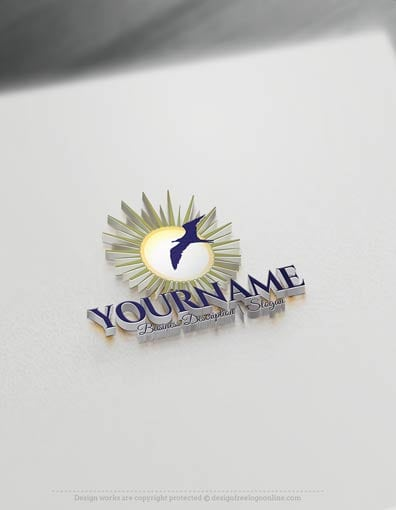 Easily customize this brand yourself with our free logo maker. Make your own Seagull Sun Logo Template without graphic designer skills