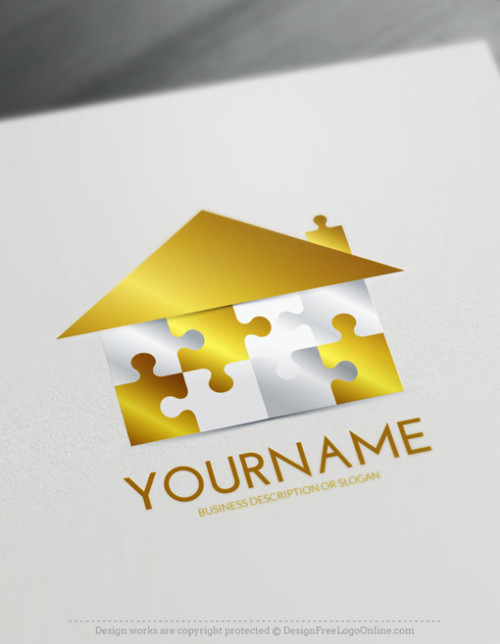 Construction Logo Maker - Gold House Puzzle Logo Ideas