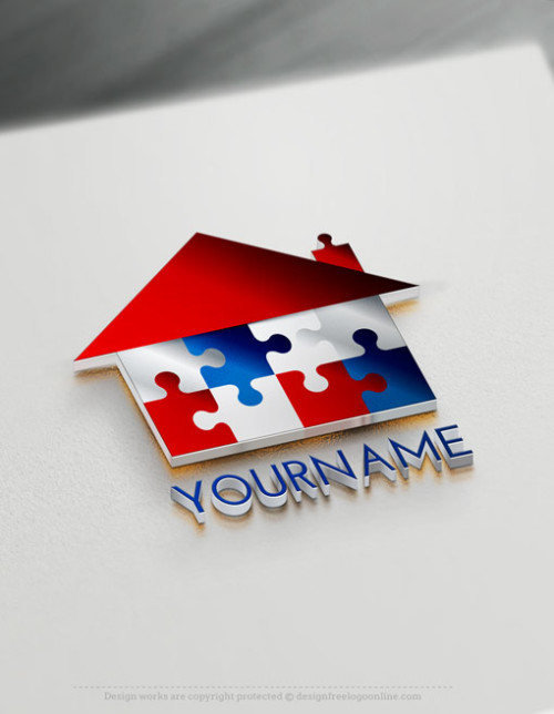 Construction Logo Maker - House Puzzle Logo Ideas