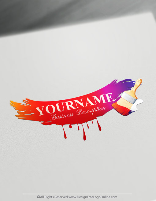 Colorful Red Paintbrush Logo Maker