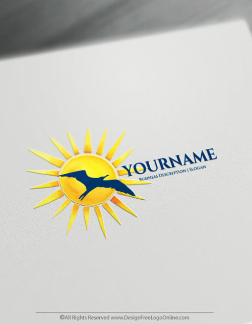 Create Your Own Seagull Logo Ideas - Seagull Sun Logo Template