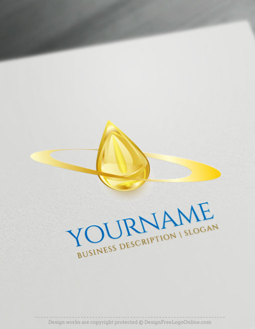 Create Your Own gold oil Drop Logo Ideas with free 3D Logo maker