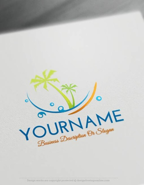 Create a Logo with our free logo maker. Ready made Online Travel logo templates decorated with an image of the beach and palm trees.