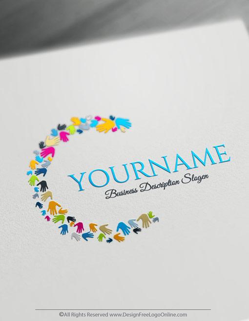 Design a logo online using Hands Logo Templates - Art logo creator