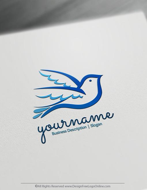 blue peace dove logo design maker
