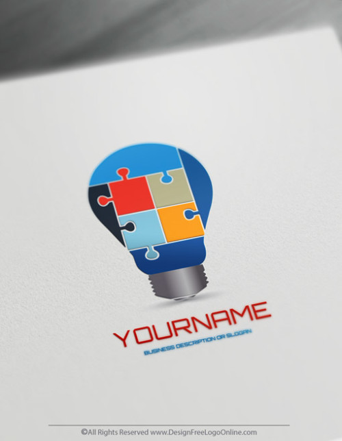 Create Education Logo Idea - Online Puzzle Logo Idea