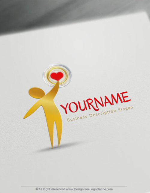 Create your own Gold human heart logo free without registration