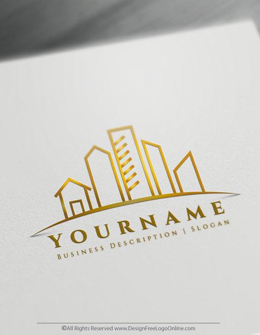 Golden free Real Estate logo maker