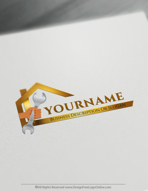 Golden DIY Handyman logo maker
