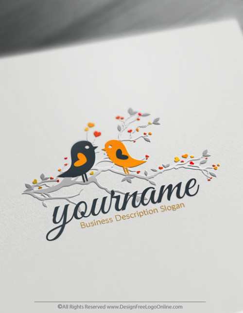 Design Your Own Free Love Birds Logo Template