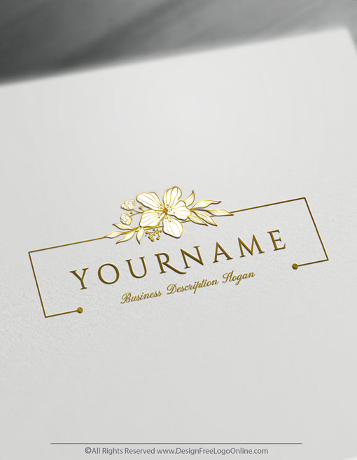 Gold Wedding Logo Floral Design