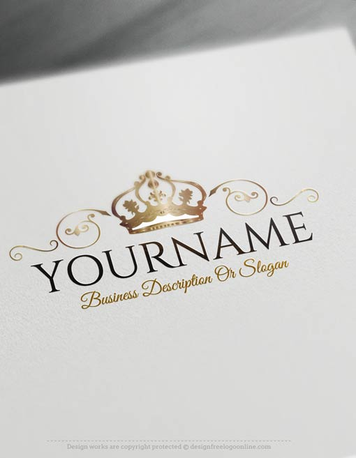 Make your logo online with our free logo maker tool. Ready made Online Crest Crown Logo template.