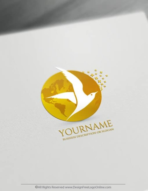 Create a Gold Flying Bird Logo For Free - Seagulls Logo Templates