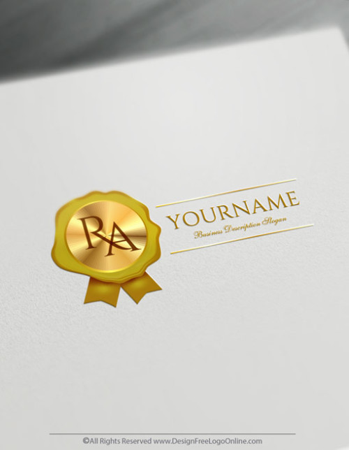 Free Letter Logo Maker - Gold Wax Seal Stamp Notary Logo Design