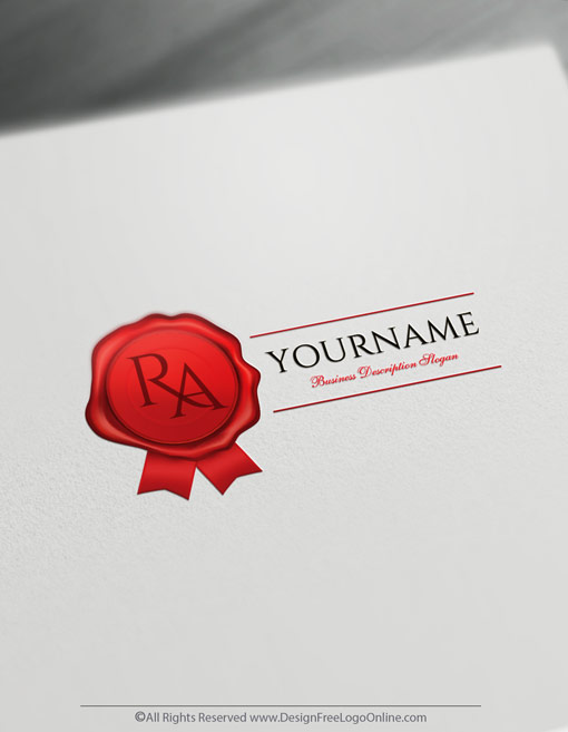 Free Letter Logo Maker - Wax Seal Stamp Notary Logo Design