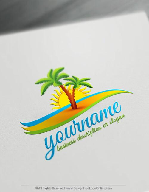 Free Travel Logo Maker - Island Palm Logo Template Design