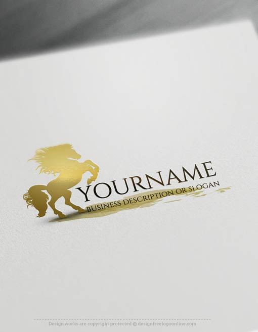 customize this brand yourself with our free logo maker. Make your own Horse Logo Templates without graphic designer skills.