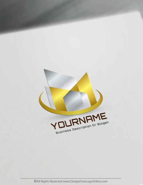 Abstract Golden Buildings Logo Template