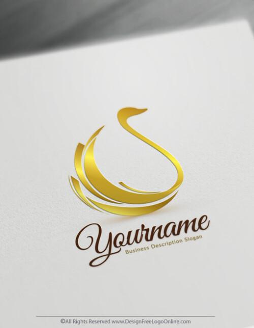 Gold Classic Swan logo maker