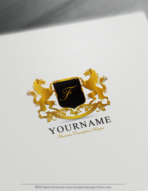 Create initials Logo Free with the vintage horses Logo Template