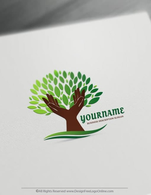 Design a Logo Free with the Hands Holding a Tree Logo Template