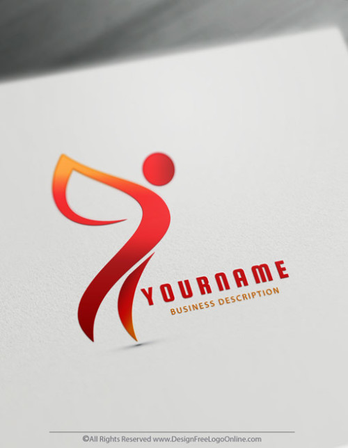 Create a Logo Design instantly - Fire red Fly Human Logo Templates