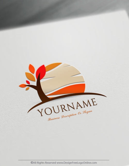 free autumn tree logos design templates
