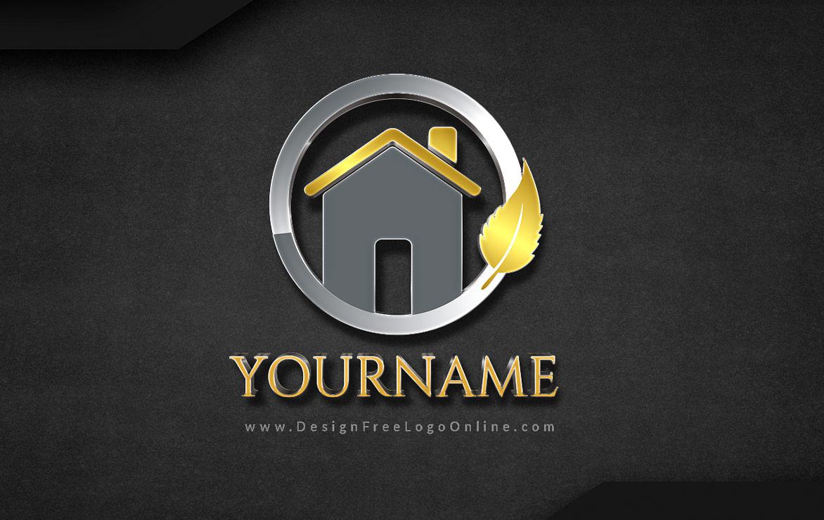 3D Black Gold Real Estate Logos