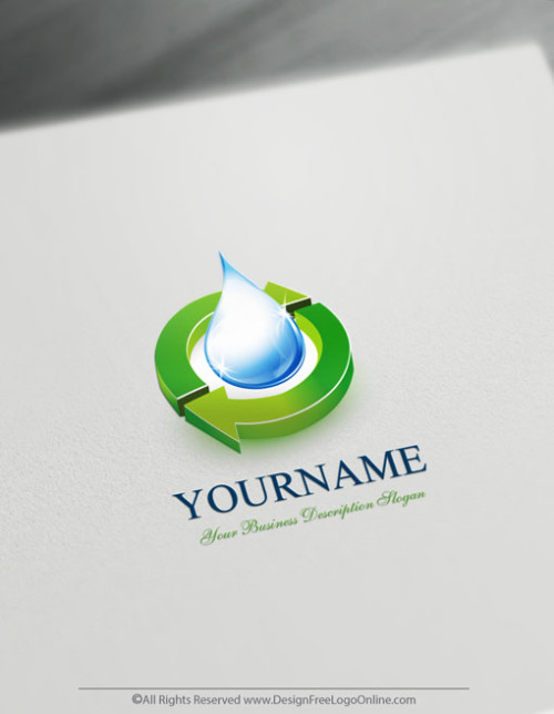 logo template Decorated with an image of a green 3D Synergy Water.